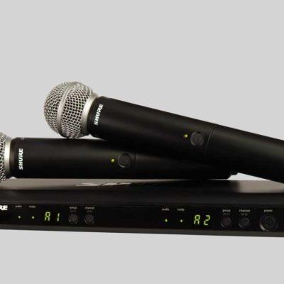Ensemble double micro main Shure SM58 de la gamme UHF BLX