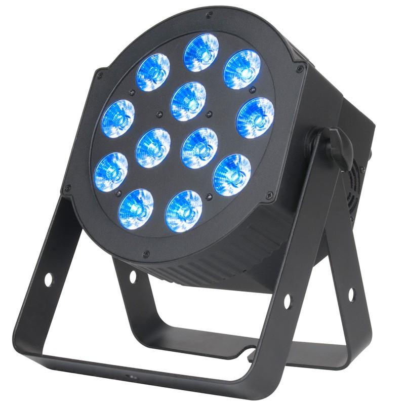 Le 12P Hex d'ADJ est un PAR à LEDs comprenant 12 LEDs Hex 6-en-1 (RGBAW+UV) de 12W chacune. Son angle d'ouverture de faisceau de 30 degrés permet de produire des Washs larges avec un mélange de couleur fluide à partir des 63 macros couleurs réalisé avec le mélange du rouge